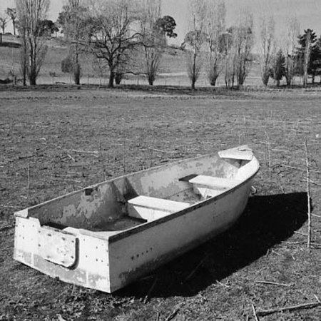 boat in a field