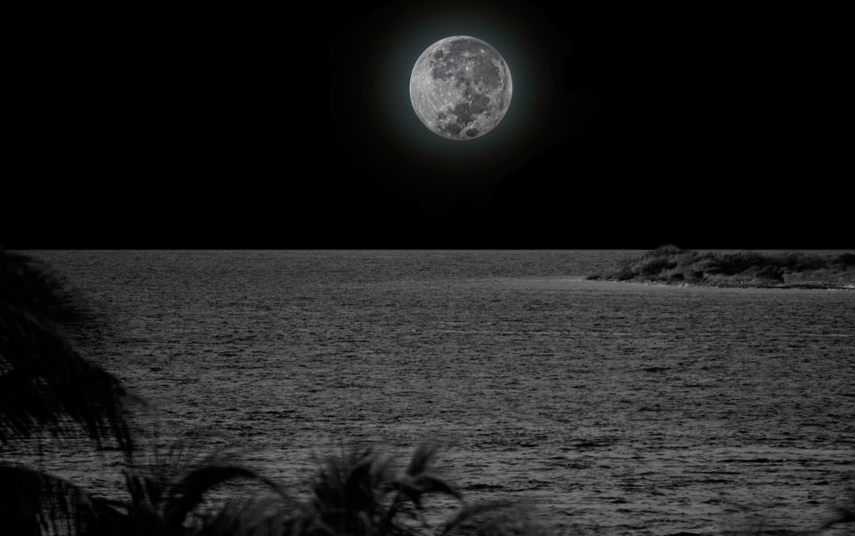moon over coral atoll