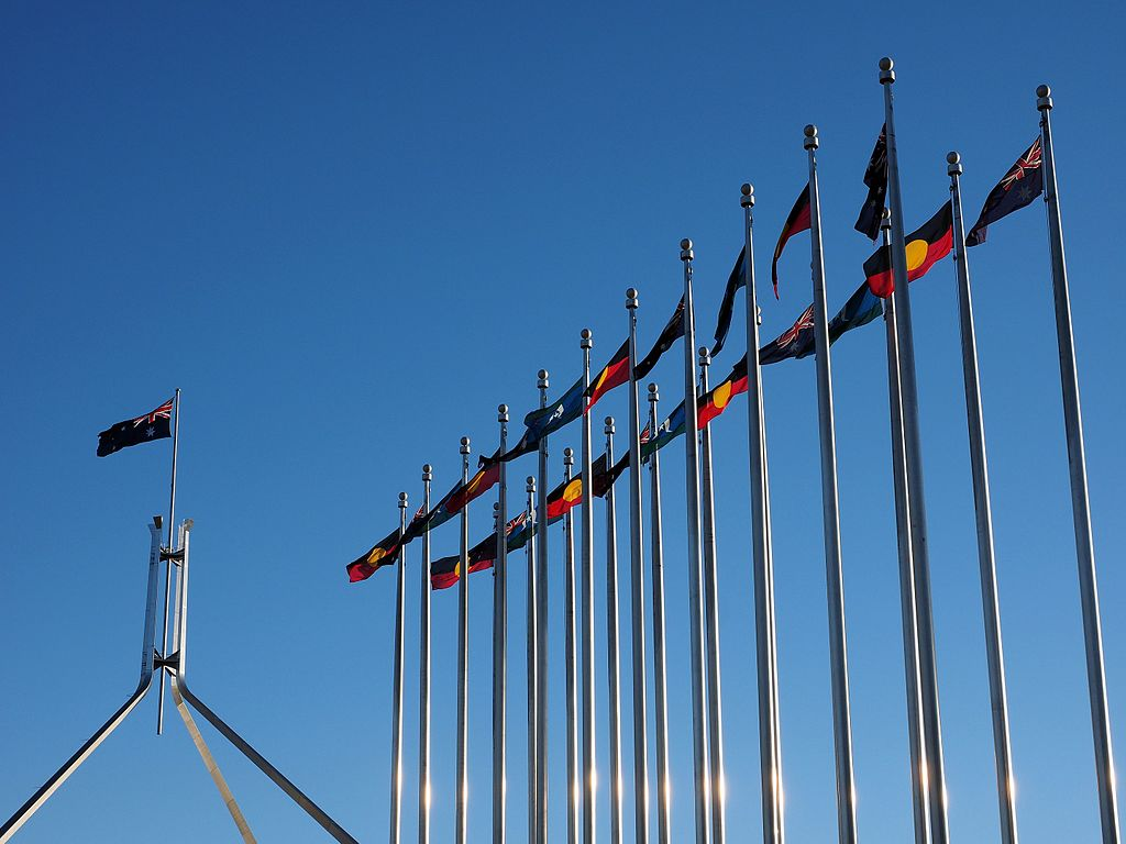 Aboriginal,_Torres_Strait_Islander_and_Australian_flags_outside_the_Australian_Parliament_House_in_July_2016