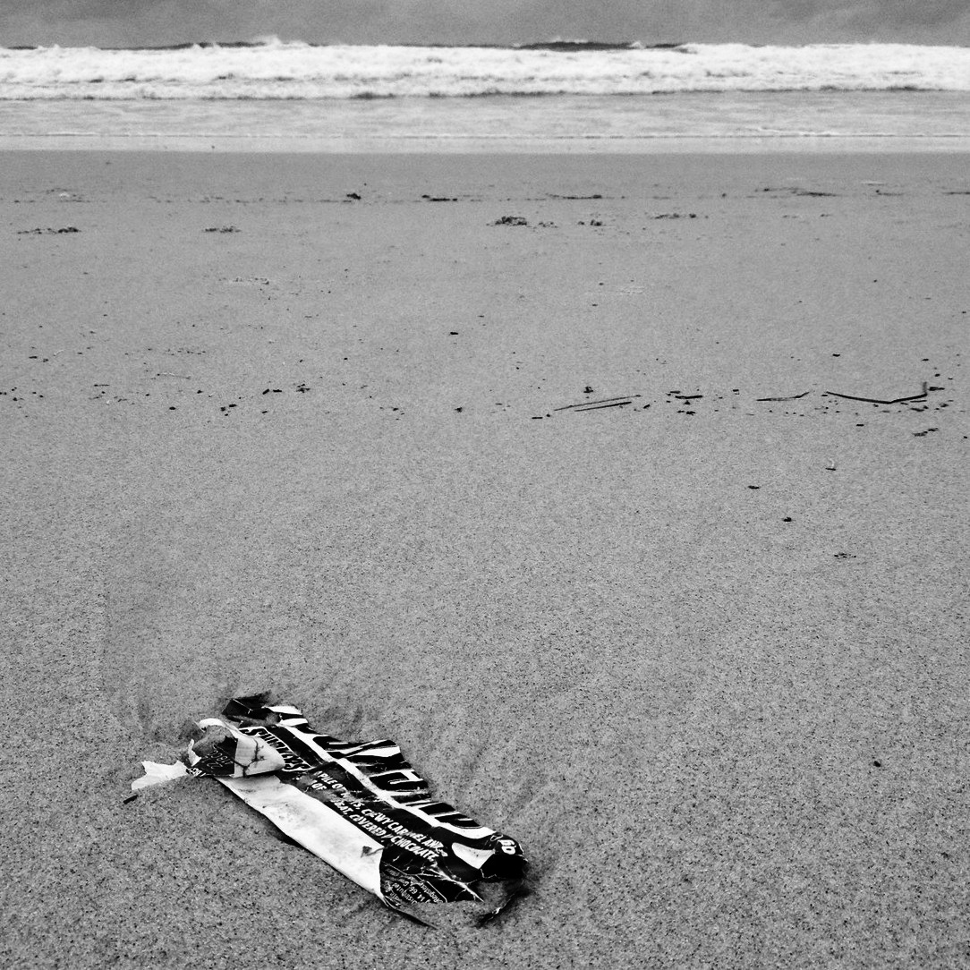 snickers on beach-b&w